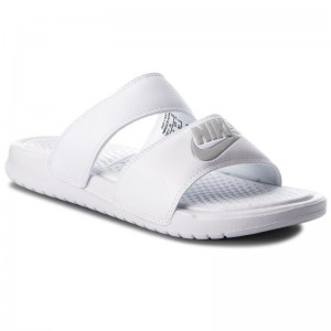 Black Friday 2020 - Nike Pantoletten Benassi Duo Ultra Slide 819717 100 White/Metallic Silver