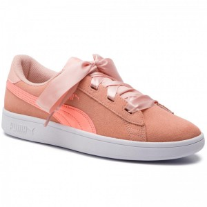 Black Friday 2020 - Puma Sneakers Smash V2 Ribbon Jr 366003 07 Peach Bud/Bright Peach/White