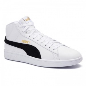 Black Friday 2020 - Puma Sneakers Smash v2 Mid L 366924 05 White/Black/Gold/High Rise
