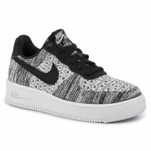 Nike Schuhe Air Force 1 Flyknit 2.0 (GS) BV0063 001 Black/Pure Platinum/White