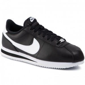 Nike Schuhe Cortex Basic Leather 819719 012 Black/White/Metallic Silver